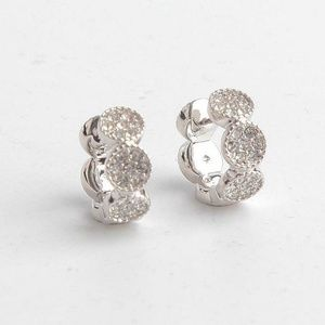 Kate Spade Silver Gatsby Dot Huggies Earrings